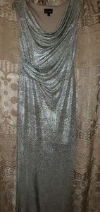 Long silver metallic dress